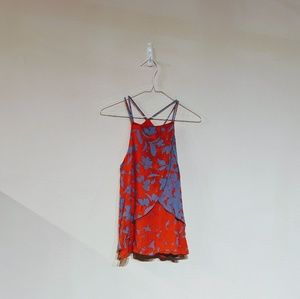 Anthropologie red and blue floral strappy cami S